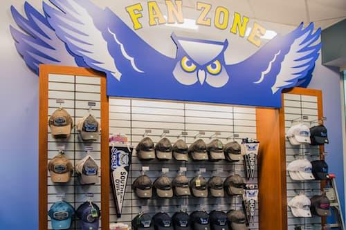 SCSU Bookstore Fan Zone hat display