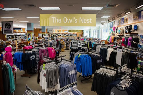 Wide shot of SCSU bookstore interior