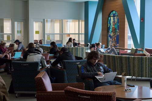 Students studying inside Buley