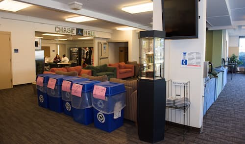 Recycling bins in Chase dormitory common area