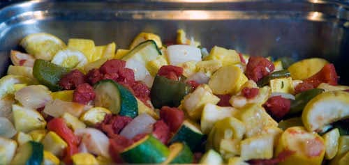 Salad with cucumbers and pieces of fruit