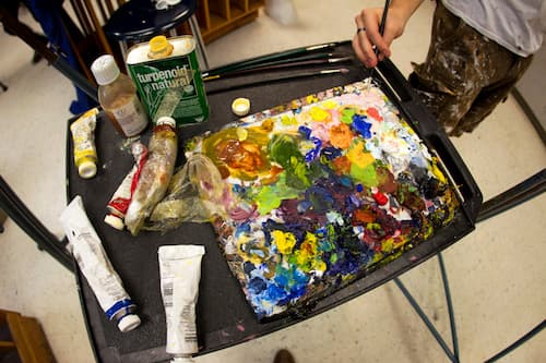 Paint splotches for mixing colors