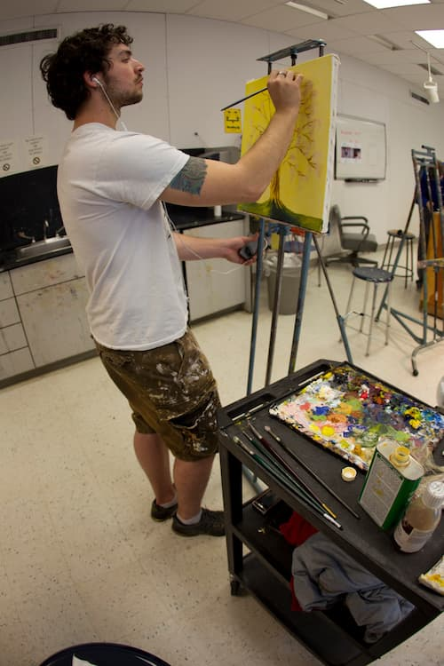 Full body shot of student painting in classroom