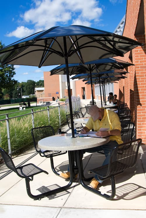 Student studying in front of Engleman