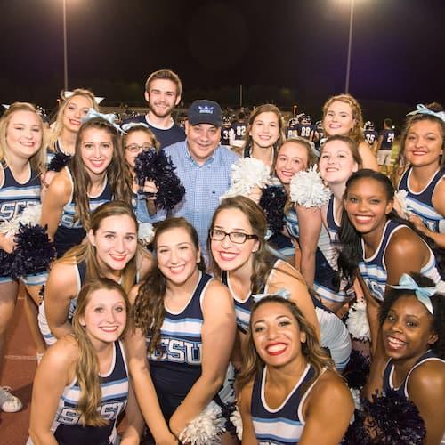 President Joe and SCSU Cheerleading