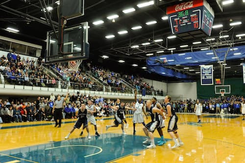 Basketball game in Moore Field House