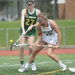 Two opposing Lacrosse players compete for ball