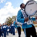 Marching band walking in a parade