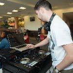 man using DJ equipment