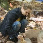 Female Anthropology student brushing fossil