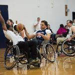 Basketball players on wheelchairs