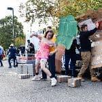 Students performing at a parade
