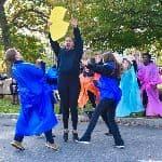 Students performing at Homecoming parade