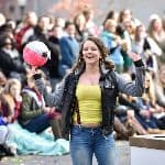 Student excited at Homecoming parade