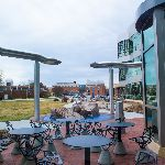 Chairs and tables outside of the science building