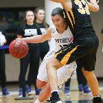 SCSU athlete pushing away competition