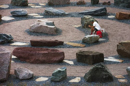 A student among the rock garden