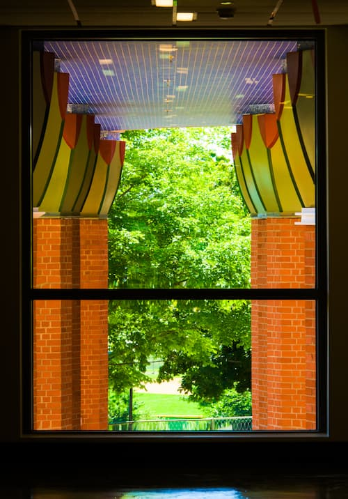 Window located inside of the new Science Building