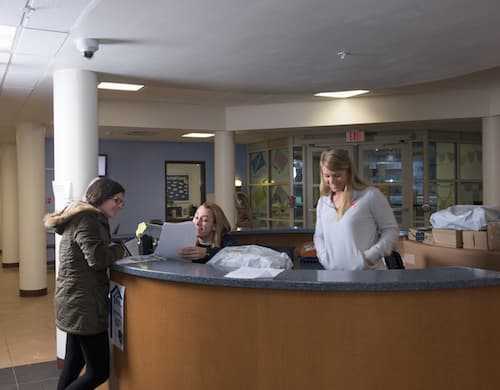 The front desk of West Hall